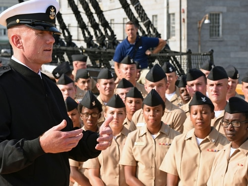 160908-N-OT964-157 BOSTON (Sept. 8, 2016) Master Chief Petty Officer of the Navy (MCPON) Steven Giordano speaks with Sailors during an all hands call as part of his visit to USS Constitution. The ship, nicknamed 'Old Ironsides', is the oldest commissioned ship in the Navy, and was Giordano's first visit as the 14th MCPON. Chief of Naval Operations (CNO) Adm. John Richardson was also present with Giordano during the call. (U.S. Navy photo by Mass Communication Specialist 1st Class Martin L. Carey/Released)