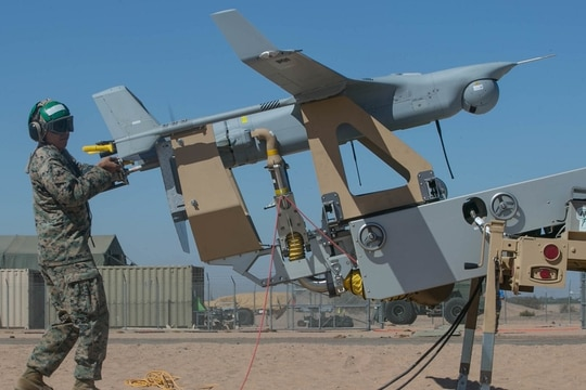 A new sensor could give the U.S. Navy and Marine Corps the ability to view an entire 5 square miles at once using an RQ-21A Blackjack drone. (Lance Cpl. Rhita Daniel/U.S. Marine Corps)
