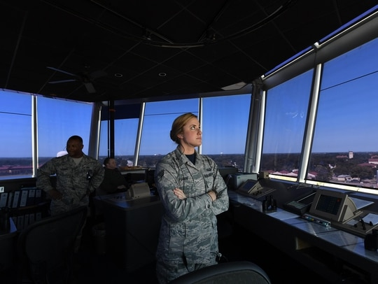 Senior Airman Jordan Futch, 2nd Operational Support Squadron air traffic controller, watches an aircraft tracker in preparation for a plane landing during a hurricane evacuation taking place at Barksdale Air Force Base, La., in September 2017. Air traffic controllers who are senior airmen and train other controllers on a day-to-day basis are now eligible for special duty assignment pay. (Airman 1st Class Sydney Campbell/Air Force)