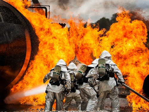 The Florida Department of Health is gathering data from current and former residents who are concerned their cancers may be linked to Patrick Air Force Base. Pictured: A team of firefighters battle a huge blaze during a live-fire training exercise in 2016 at Hurlburt Field, Fla. (Tech. Sgt. Sam King/Air Force)