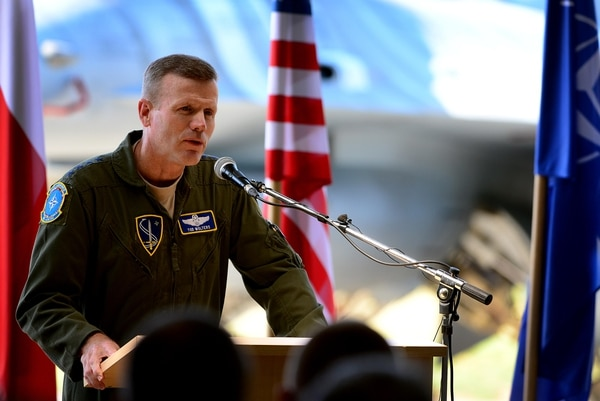 Air Force Gen. Tod D. Wolters, NATO Allied Air Command and U.S. Air Forces in Europe commander, expresses his thanks to the men and women of the Polish air force during the official Baltic Air Policing hand-over, take-over ceremony at Šiauliai Air Base, Lithuania, Aug. 30, 2017. The U.S. Air Force assumed control of Baltic Air Policing operations from the Polish air force to protect the sovereign skies above the Baltic region. (Tech. Sgt. Matthew Plew/Air Force)