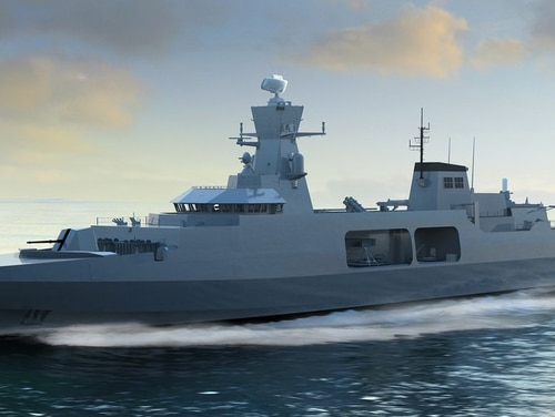 BAE's Type 31e frigate design is one of three competitors selected for the scaled-down frigate program. (BAE Systems)