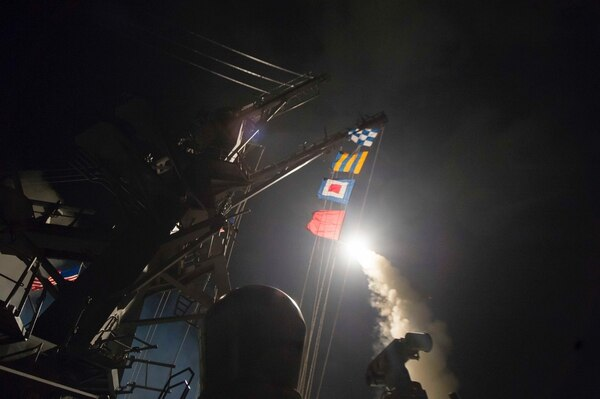 In April 2017, the destroyer Ross fired Tomahawk missiles at Syrian regime targets in a punitive strike aimed at dissuading Syrian President Bashar Assad from using chemical weapons in the ongoing conflict. (U.S. Navy)