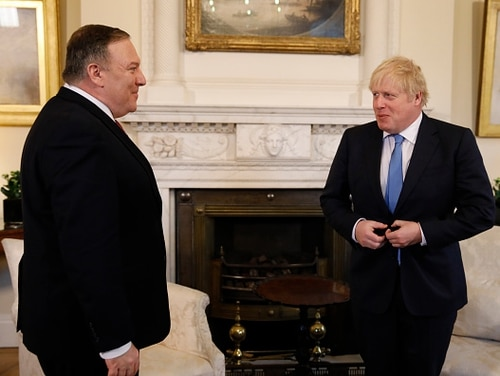 U.S. Secretary of State Mike Pompeo is welcomed by Britain's Prime Minister Boris Johnson as they meet at Downing Street on January 30, 2020 in London, United Kingdom. Pompeo is on a two-day visit to the U.K to discuss a number of issues including the role of Huawei in British 5G Networks. (Photo by Tolga Akmen– WPA Pool/Getty Images)