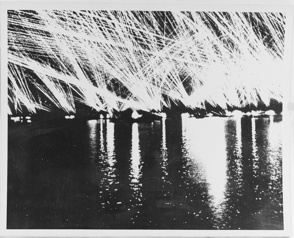 Anti-aircraft fire, Bizerte Harbor, mid -1943. (U.S. Naval History and Heritage Command)