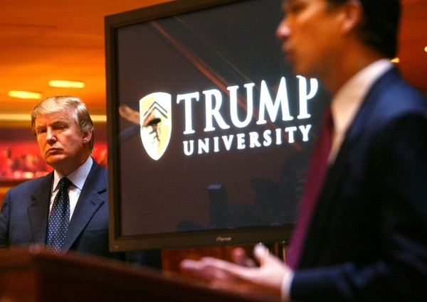 "Before becoming president, Donald Trump lent his name to for-profit ""Trump University."" (AP Photo/Bebeto Matthews)"