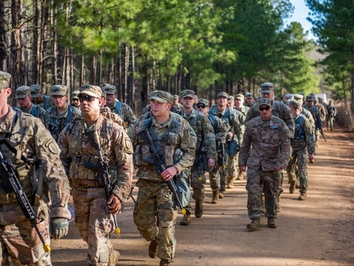 Soldiers train on various tactical lanes in February 2019 at Fort Benning. (Patrick A. Albright/Army)