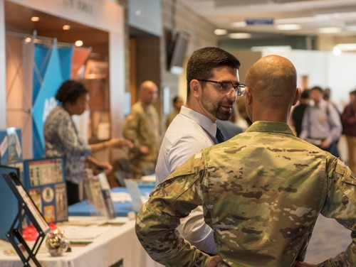 Members of the Massachusetts Air National Guard's 102nd Intelligence Wing attended the Business, Engineering & Technologies Job and Internship Fair at the University of Massachusetts Dartmouth on Oct. 23, 2019. (Tech. Sgt. Thomas Swanson/Air Force)