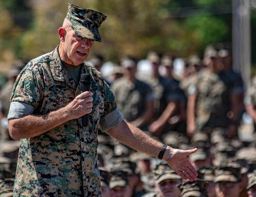 Commandant of the Marine Corps Gen. David H. Berger addresses Marines and Sailors at Marine Corps Base Camp Pendleton, California, Aug. 27, 2019. (Lance Cpl. Roxanna Ortiz/Marine Corps)