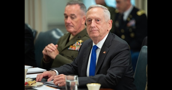 Secretary of Defense Jim Mattis speaks alongside Gen. Joseph Dunford, chairman of the Joint Chiefs of Staff, as he holds a meeting with Indonesia Defense Minister Ryamizard Ryacudu at the Pentagon on Aug. 28, 2018. (Saul Loeb/AFP via Getty Images)