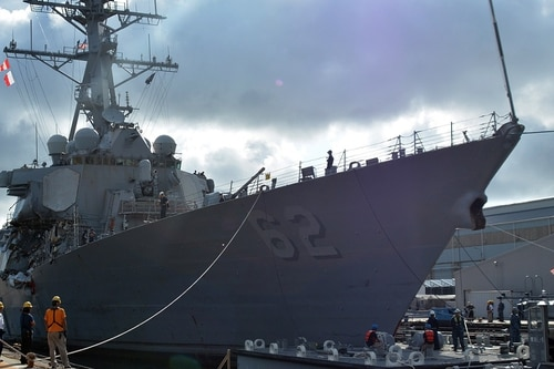 The Japan Coast Guard has recommended negligent homicide charges for the officers steering both the Fitzgerald, pictured, and the ACX Crystal during June's deadly collision. (MC1 Peter Burghart/Navy)