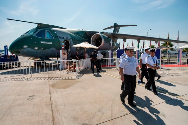 A Brazilian Embraer KC-390 makes an appearance at the 2018 International Air and Space Fair in Santiago. The company is the only one from South America on this year's Top 100 list. (Martin Bernetti/AFP via Getty Images)