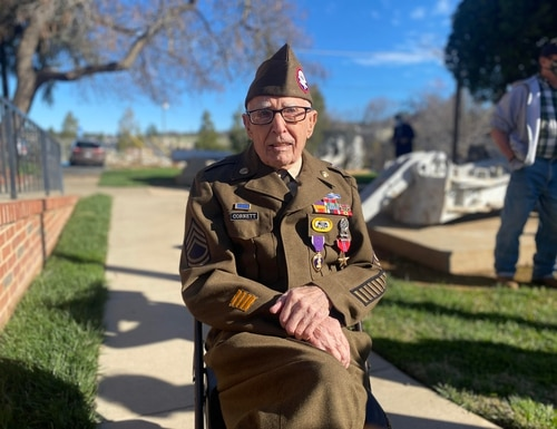 Retired Army Sgt. 1st Class Marvin Cornett received his Purple Heart and Bronze Star Feb. 22 at American Legion Post 84 in Auburn, California, 77 years after the actions that warranted the awards. (Army)