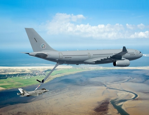 An Airbus A330 Multi Role Tanker Transport aircraft refuels a fighter jet. France renewed a pledge to speed up by two years delivery of 12 Airbus A330 jets for the French Air Force by 2023.(Airbus)