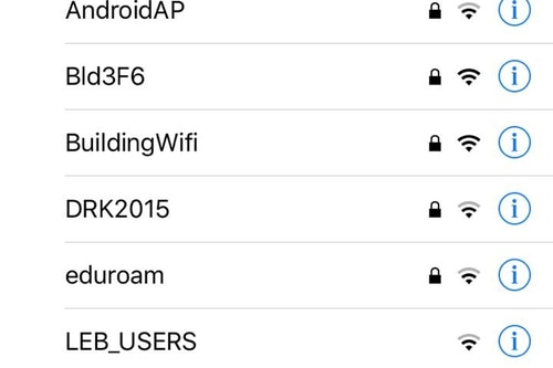 A smartphone screenshot taken Wednesday, Jan. 18, 2017 shows the WiFi networks active at the corner of Pierre Gemayel and Damascus Streets in Beirut. A report being published Thursday identifies the second WiFi network from the top as being associated with Lebanon's General Directorate of General Security, which is at the same address. (AP Photo)