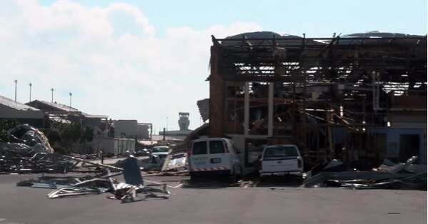 A screen shot from an Air Force damage assessment video shot Monday shows Tyndall Air Force Base in shambles. (Video by Master Sgt. Alexander Farver/Air Force)