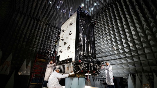 This 2016, photo provided by Lockheed Martin, shows the first GPS III satellite inside the anechoic test facility at Lockheed Martin's complex south of Denver. The facility is used to ensure the signals from the satellite's components and payload will not interfere with each other. (Pat Corkery/Lockheed Martin via AP)