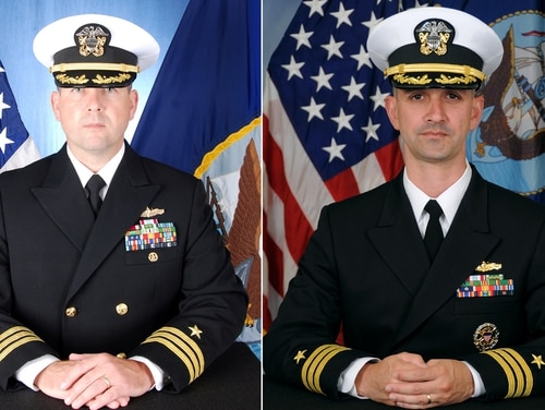 Cmdr. Bryce Benson, left, and Cmdr. Alfredo J. Sanchez, right, face criminal charges for their roles in the fatal collisions of their respective destroyers. (Navy)