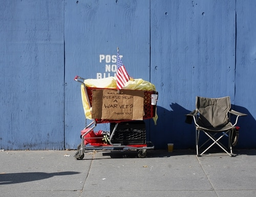 The grocery cart and chair of a person experiencing homelessness is shown along Fifth Avenue during New York City's annual Veterans Day parade in 2006. (Michael Nagle/Getty Images)