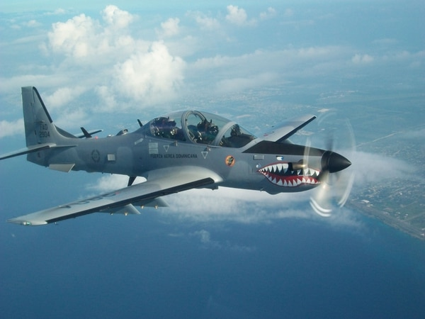This A-29B Super Tucano, which is not a helicopter, patrols the skies of the Dominican Republic. (Courtesy of Lt. Col. Jonas Reynoso)