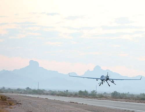 An Extended Range / Multipurpose (ER/MP) Unmanned Aircraft System (UAS), ascends into the sky for operational testing during Project Convergence 20, at Yuma Proving Ground, Arizona, September 15, 2020. The ER/MP AUS autonomous weapons systems have the capacity to carry multiple payloads while delivering precise attacks against eneny forces, potentially preventing the necessity of ground force prescence. (Spc. Jovian Siders/U.S. Army)