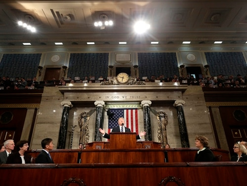 President Donald Trump addresses a joint session of Congress on Capitol Hill in Washington on Feb. 28, 2017. (Jim Lo Scalzo/AP)