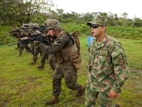 U.S. Marines conduct advanced marksmanship training alongside Colombian Marines as a part of subject matter expert exchange. (DVIDS)