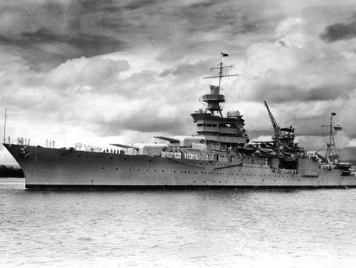 The USS Indianapolis is shown at Pearl Harbor, Hawaii, circa 1937. On July 30, 1945 the Japanese I-58 submarine torpedoed the Indianapolis, tearing the ship nearly in two, destroying much of the bow and igniting a firestorm below decks. (Naval Historical Center via AP)