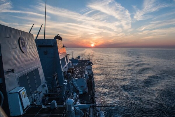 The guided-missile destroyer Jason Dunham transits the Strait of Hormuz on Nov. 14. (Mass Communication Specialist 3rd Class Jonathan Clay/Navy)