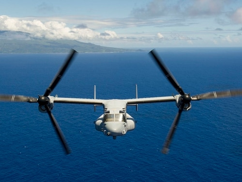 An MV-22 Osprey, assigned to the