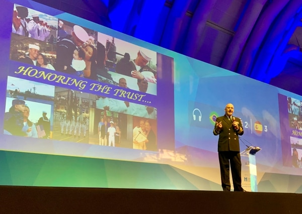 U.S. Navy Surgeon General Vice Adm. C. Forrest Faison, III gives a presentation on the U.S. Navy experience in moving toward value-based care during the 5th Latin American Forum on Quality and Safety in Healthcare in São Paulo, Brazil, on Oct. 14. (Cmdr. Denver Applehans/Navy)