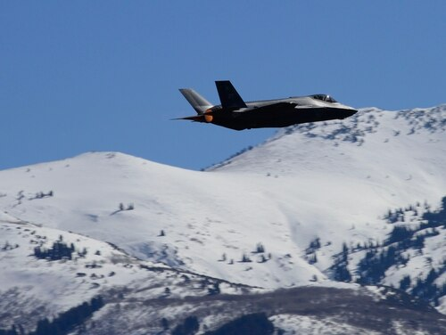 An F-35A takes off from Hill Air Force Base, Utah, March 14, 2014. After getting upgrades, the F-35A is on its way back to Nellis AFB, Nev. (U.S. Air Force photo by Airman 1st Class Joshua D. King/ RELEASED)