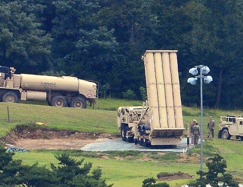 A U.S. Terminal High Altitude Area Defense, or THAAD, is seen at a golf course in Seongju, South Korea on Sept. 6, 2017. (Choo Sang-chul/Newsis via AP)