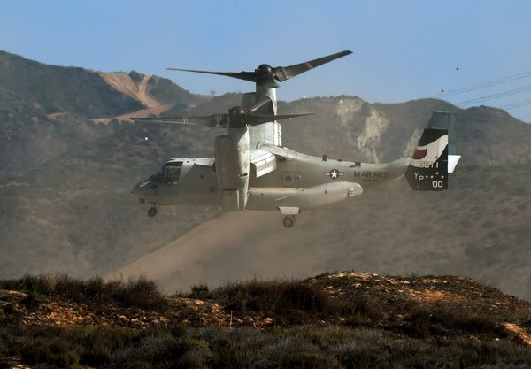 A US Marines MV-22 Osprey lands during an amphibious landing operation with US Forces and the Japan Maritime Self-Defense Force (JMSDF) at the Dawn Blitz 2015 exercise in Camp Pendleton, California on September 5, 2015. Japan's defense ministry has made its biggest ever budget request, as Tokyo bolsters its military amid lingering territorial rows and worries over China's expanding naval reach. The ministry wants 5.09 trillion yen ($42 billion) for the next fiscal year, with the focus on strengthening protection of a string of southern islands that stretch from Japan's mainland to waters near Taiwan. AFP PHOTO / MARK RALSTONMARK RALSTON/AFP/Getty Images