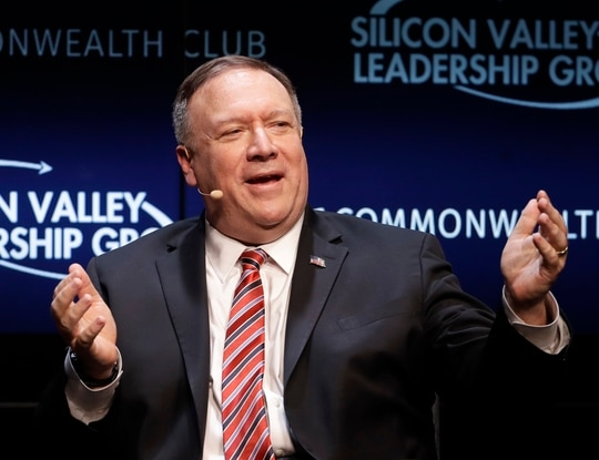 Secretary of State Mike Pompeo gestures while speaking at the Commonwealth Club in San Francisco, Monday, Jan. 13, 2020. (AP Photo/Jeff Chiu)