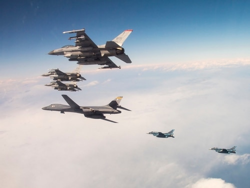 A U.S. Air Force B-1B Lancer from Ellsworth Air Force Base, S.D., and F-16 Fighting Falcons from Misawa Air Base, Japan, conducted bilateral joint training with Japan Air Self-Defense Force (JASDF) F-2s off the coast of northern Japan, April 22, 2020. (Tech. Sgt. Timothy Moore/Air Force)