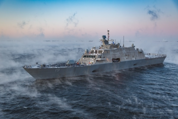 The littoral combat ship St. Louis underway on Acceptance Trials in December 2019. The propulsion for all Freedom-class LCS may need to be fixed, the Navy says. (Photographed courtesy of Lockheed Martin)