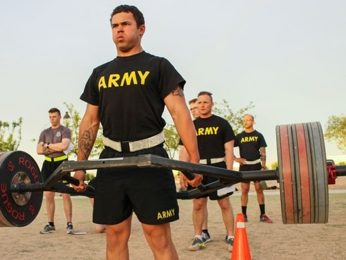 Spc. Briceton Lowrie, with 2nd Battalion, 198th Armored Regiment, conducts a dead lift during a pilot program for the Army Combat Fitness Test at Fort Bliss, Texas, April 17, 2018. As of right now, the Army isn't discussing any alternate events for the six-part test. (Sgt. Brittany Johnson/Army National Guard)