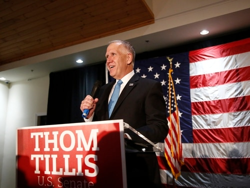 Sen. Thom Tillis, R-N.C., addresses supporters in his bid for reelection against Democratic challenger Cal Cunningham during an Election Night watch party on Nov. 3, 2020, in Mooresville, N.C. (Brian Blanco/Getty Images)