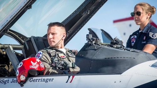 Maj. Nick Krajicek, call sign Khan, sits in his F-16 as a member of the Thunderbirds. Krajicek, who flew with the Thunderbirds in 2016 and 2017, is returning to the squadron to take the place of Maj. Stephen Del Bagno, who died in a crash April 4. (Air Force)