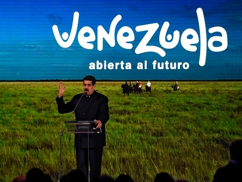 Venezuelan President Nicolas Maduro speaks to businessmen during the presentation of Venezuela's nation-brand in Caracas on Feb. 11, 2019. (Photo by Federico Parra/AFP via Getty Images)
