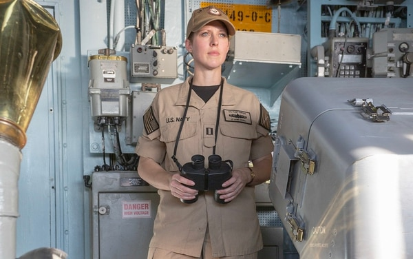 Lt. Jamie Seibel, U.S. Fleet Forces Command, wears the khaki variant of the prototype workwear on board the guided-missile cruiser Vella Gulf. (Mass Communication Specialist 2nd Class Stacy M. Atkins Ricks/Navy)