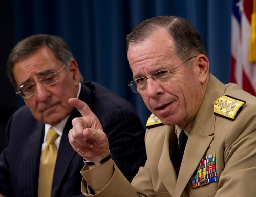 Then-Secretary of Defense Leon Panetta and then-Chairman of the Joint Chiefs of Staff Adm. Mike Mullen address the media during a press availability at the Pentagon. (MC1 Chad J. McNeeley/Navy)