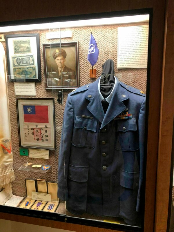 An exhibit at the Chennault Aviation and Military Museum in Monroe, La., displays artifacts from Maj. Richard Sherman (Nell Calloway/Chennault Aviation and Military Museum via AP)