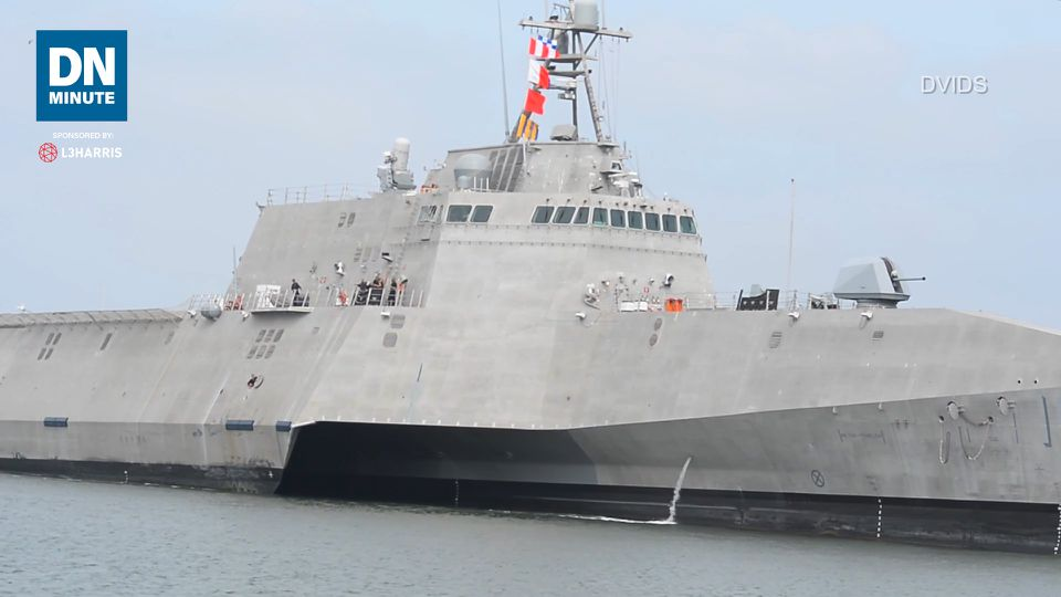An LCS with the Naval Strike Missile heads to the Pacific