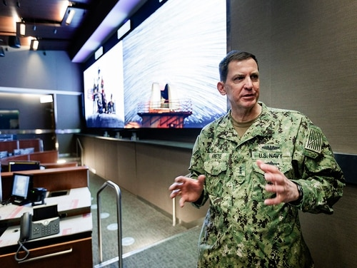 Vice Adm. Dave Kriete, who is the deputy commander of U.S. Strategic Command, speaks inside of the CSR Battle Deck at U.S. Strategic Command's new Command and Control Facility located at Offutt Air Force Base on Thursday, Jan. 24, 2019, in Omaha, Neb. (Ryan Soderlin/Omaha World-Herald via AP)