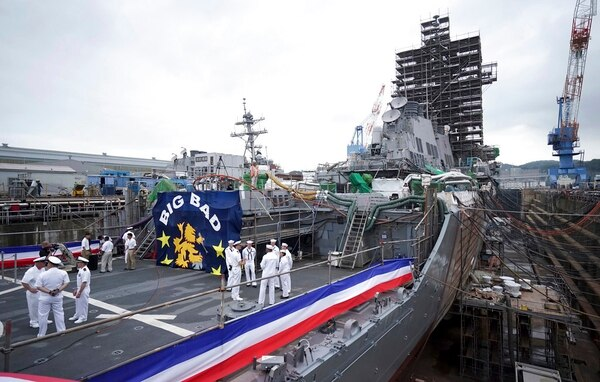 The USS John S. McCain under repair at a dry dock is seen after a rededication ceremony for at the U.S. Naval base in Yokosuka, southwest of Tokyo, Thursday, July 12, 2018. (Eugene Hoshiko/AP)