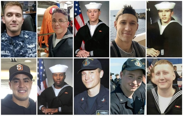 Ten sailors died in the McCain collision. Top row (L to R): Chief Electronics Technician Charles N. Findley; Electronics Technician 2nd Class John H. Hoagland III; Electronics Technician 2nd Class Kenneth A. Smith; Electronics Technician 2nd Class Dustin L. Doyon; Chief Interior Communications Electrician Abraham Lopez. Bottom row, Information Systems Technician 2nd Class Timothy T. Eckels Jr.; Information Systems Technician 1st Class Corey G. Ingram; Electronics Technician 1st Class Kevin S. Bushell; Electronics Technician 2nd Class Jacob D. Drake; Interior Communications Electrician 2nd Class Logan S. Palmer. (Navy)