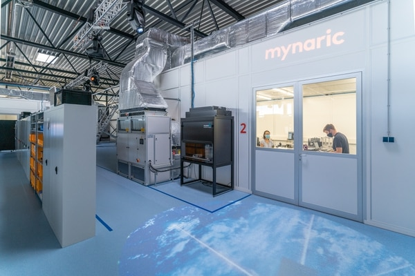 A worker is pictured inside Mynaric's new serial production facility at the Oberpfaffenhofen special research airport outside Munich, Germany. The company is one of a raft of