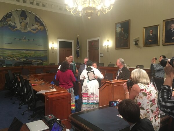 An emotional ending as Congresswoman Haaland receives her Native American name and awards. (Photo by Brian Mackley)